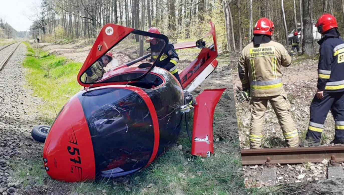 Wiatrakowiec zahaczył o linię wysokiego napięcia (fot. Facebook/KM PSP Toruń)