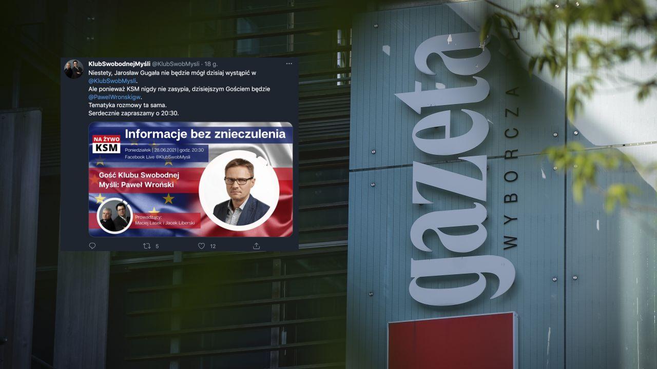 """Paweł Wroński z """"Gazety Wyborczej"""" u polityka PO Macieja Laska (fot Jaap Arriens/NurPhoto via Getty Images, Twitter.com/KlubSwobMysli)"""
