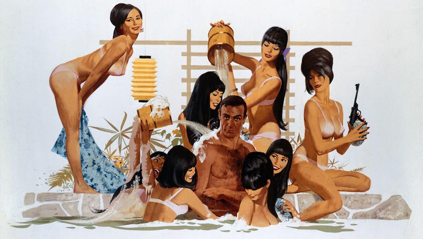 """Rysunek promujący film Jamesie Bondzie """"Żyje sie tylko dwa razy"""" z 1967 roku, reż. Lewis Gilbert, grali m.in. Sean Connery (agent 007), Tetsurō Tamba (Tiger Tanaka), Mie Hama (Kissy),  Akiko Wakabayashi (Aki), Donald Pleasence (Ernst Stavro Blofeld). Fot. arch. TVP"""