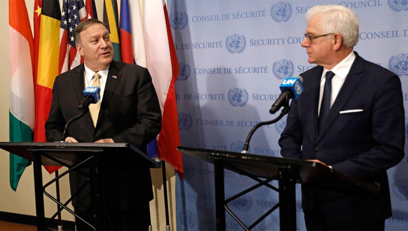 Szef MSZ Jacek Czaputowicz rozmawiał z sekretarzem stanu USA Mike'iem Pompeo (fot. PAP/EPA/PETER FOLEY)