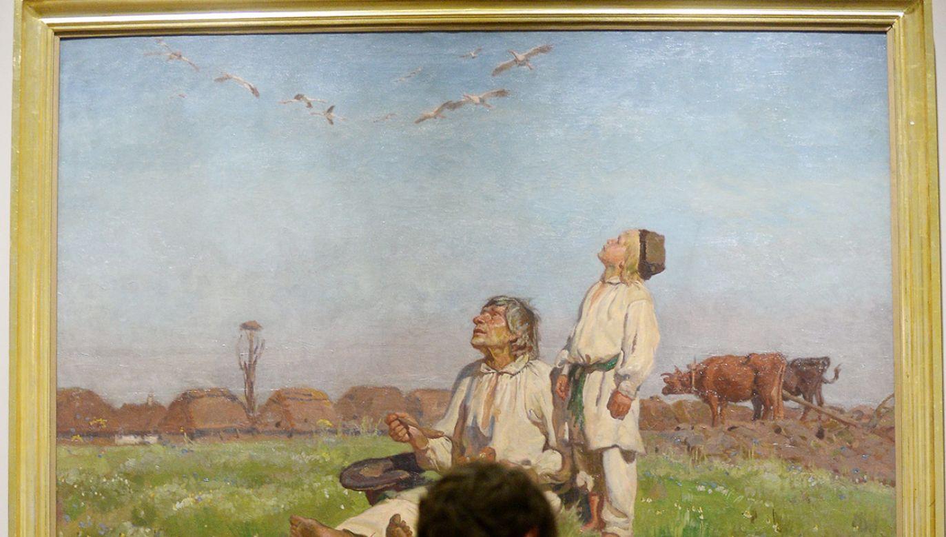 Chłopi na słynnym obrazie Józefa Chełmońskiego (fot. PAP/Bartłomiej Zborowski)