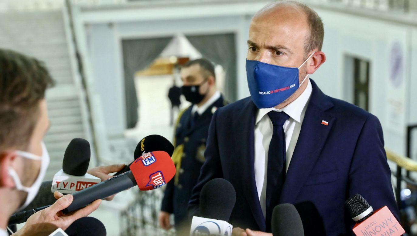 Lider PO Borys Budka (fot. PAP/Rafał Guz)