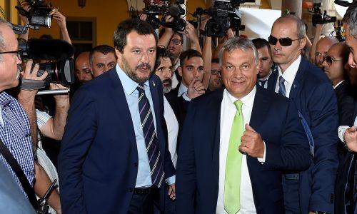 Matteo Salvini z Viktorem Orbanem w Mediolanie, sierpnień 2018 r. Fot. REUTERS/Massimo Pinca