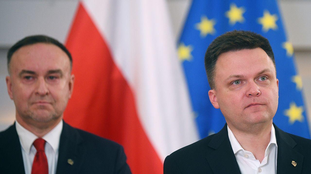 Liderzy Polski 2050 Michał Kobosko i Szymon Hołownia (fot. Forum/Adam Chelstowski)