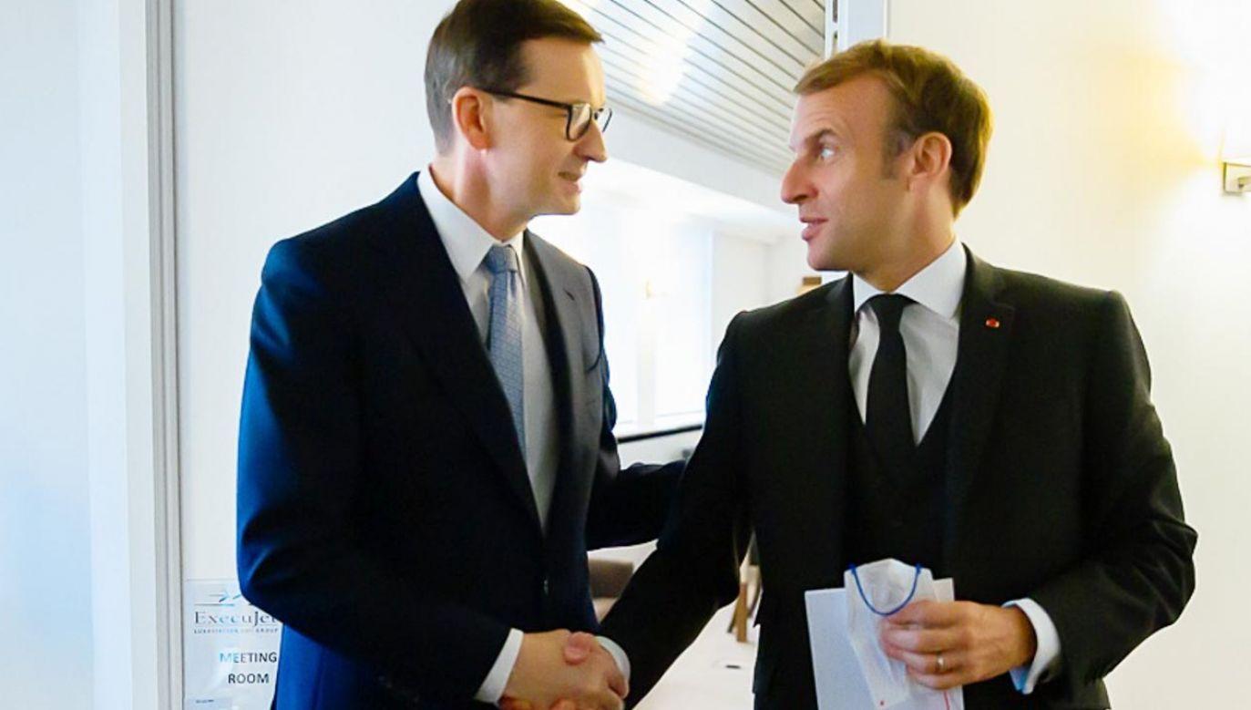 Premier Polski Mateusz Morawiecki z prezydentem Francji Emmanuelem Macronem(fot. Krystian Maj/KPRP)