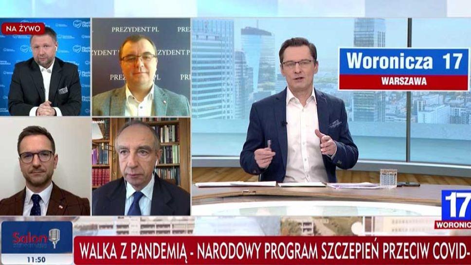 """Dyskusja ws. szczepień w programie """"Woronicza 17"""" (fot. TVP Info)"""