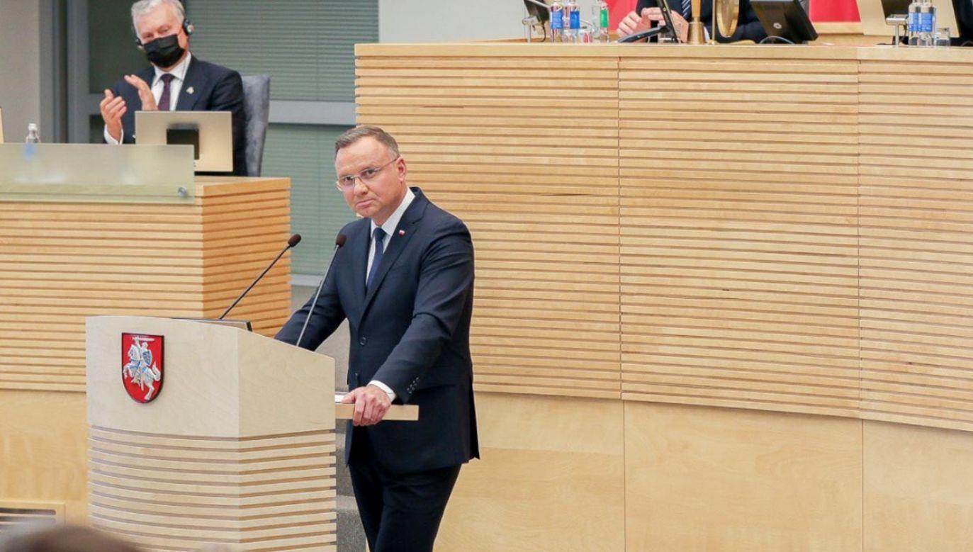 Andrzej Duda w Sejmie na Litwie (fot. Marek Borawski/KPRP)