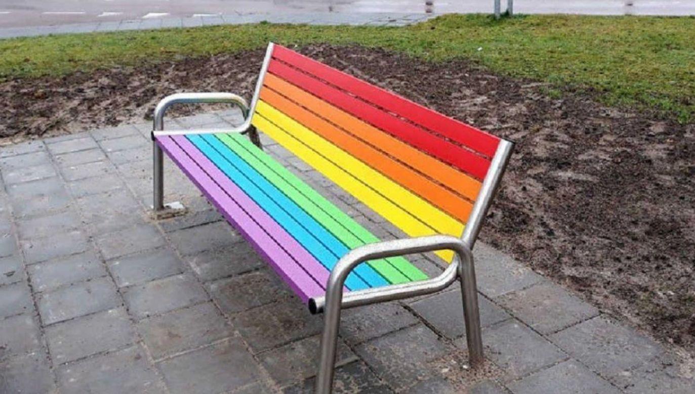 Sześciokolorowe ławki mają stanąć w miejscach, gdzie będą potrzebne seniorom (fot. FB/RobertBiedron)