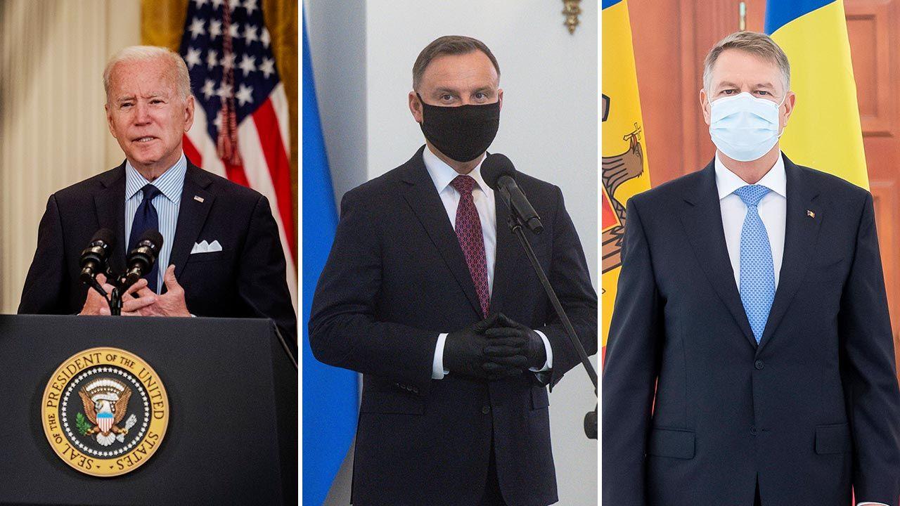 Prezydenci USA, Polski i Rumunii spotkają się online (fot. Bill O'Leary/The Washington Post via Getty Images; PAP/Andrzej Lange; PA/EPA/DUMITRU DORU)