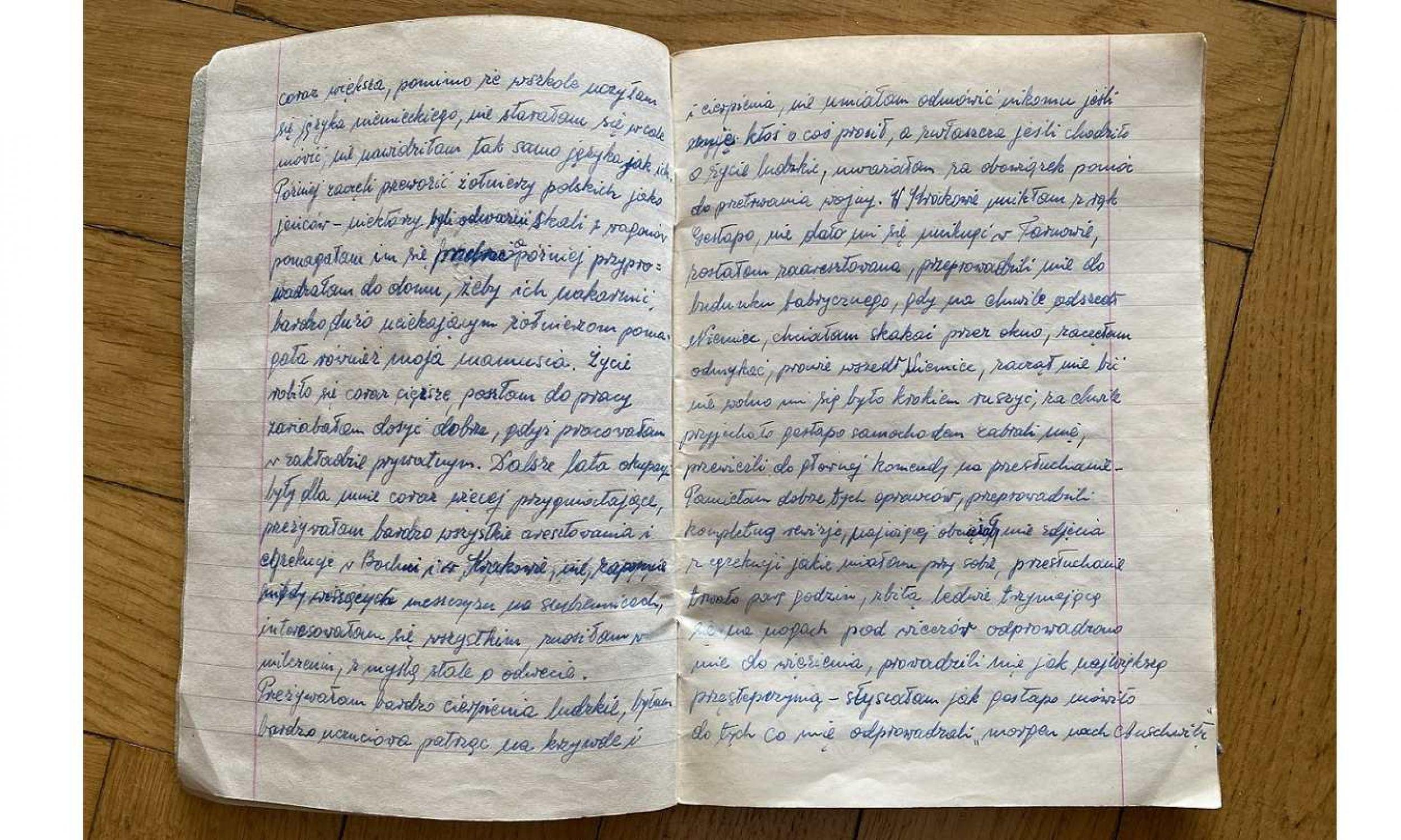 36 spośród 48 stron wypełnione notatkami z pobytu w Birkenau. Fot. Archiwum rodzinne.