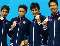 Drugie miejsce w wyścigu sztafet 4x100 metrów stylem zmiennym zajęli Japończycy (fot. Getty Images)