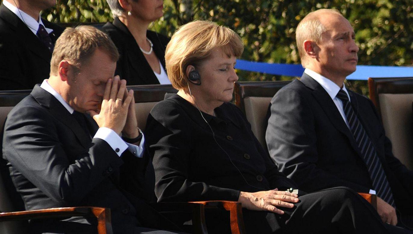 Donald Tusk, Angela Merkel i Władimir Putin (fot. PAP/Jacek Turczyk)