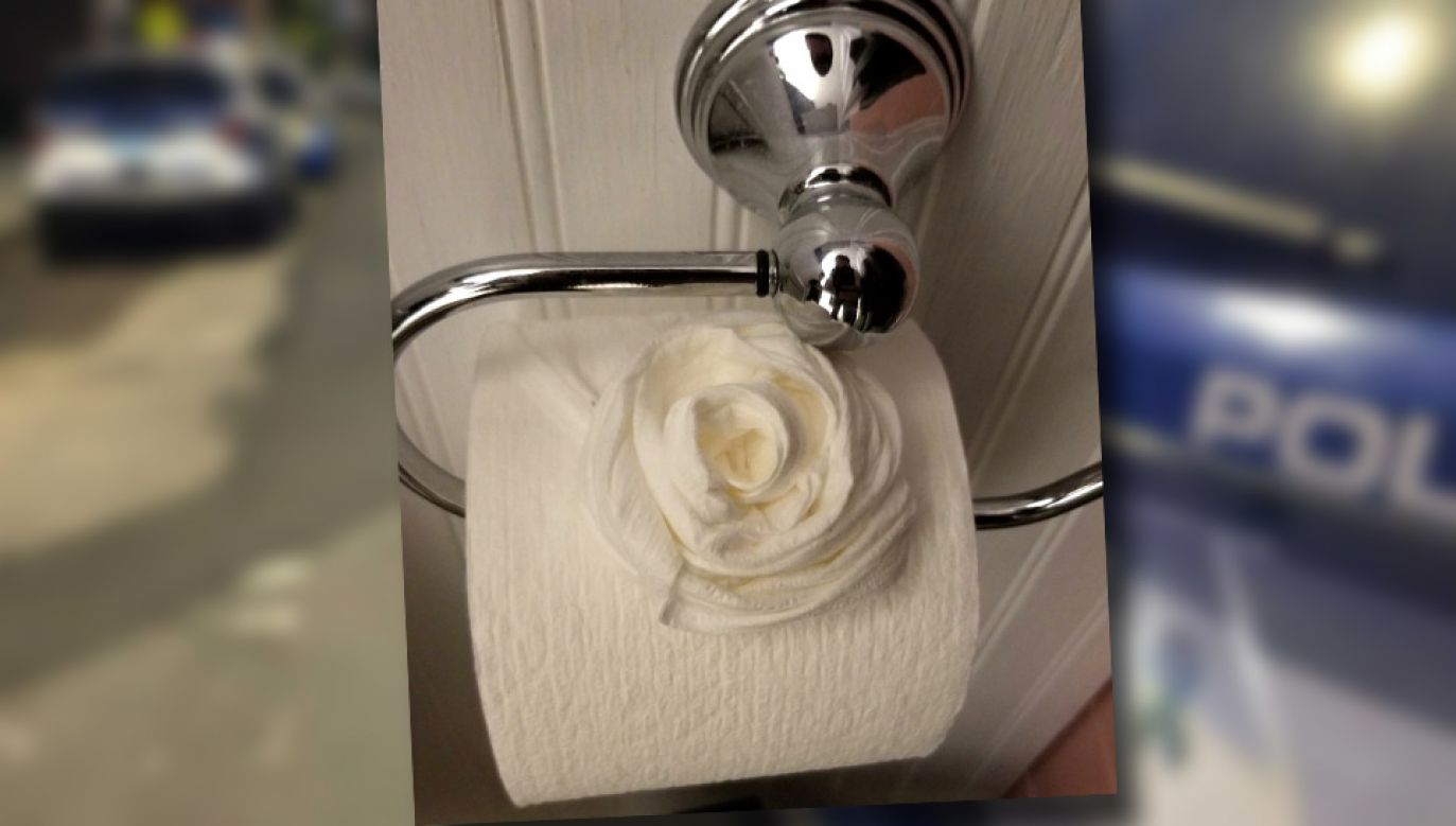 Włamywacz ułożył fikuśne róże z papieru toaletowego (fot. TT/WCVB/FB/Nate Roman)