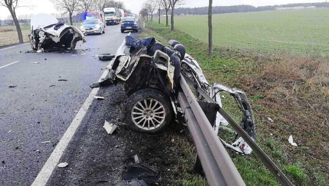 Do wypadku doszło na drodze krajowej nr 11  (fot. Policja wlkp)