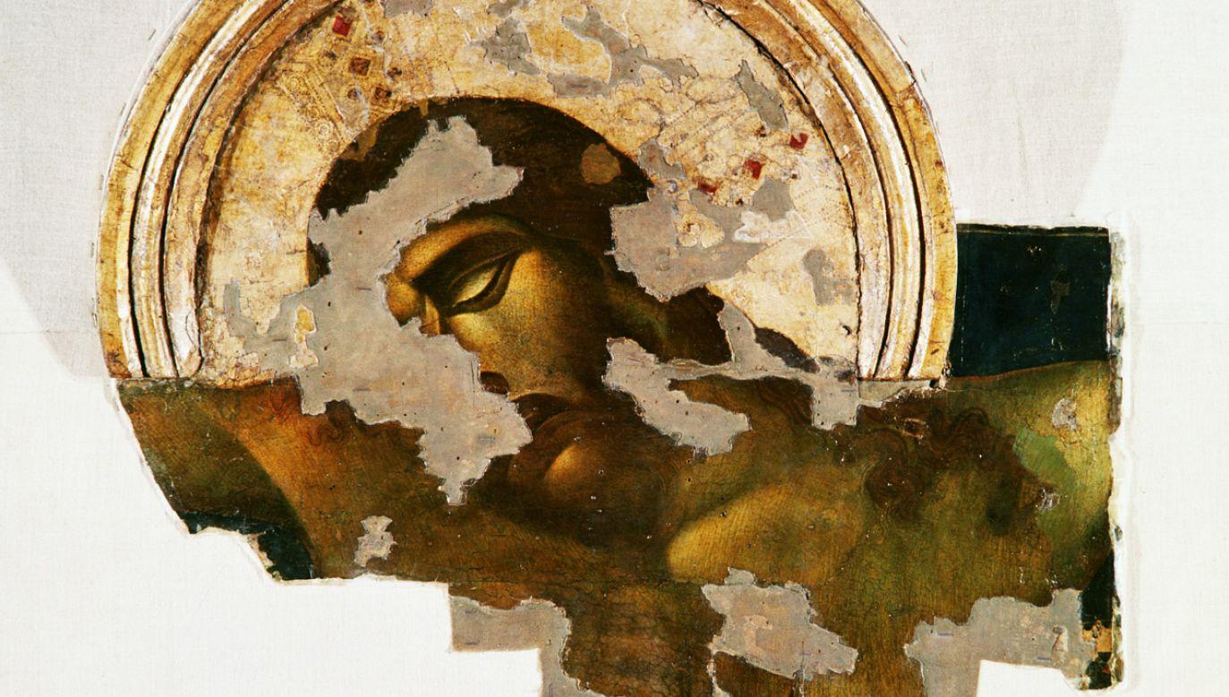 """Detal """"Krucyfiksu"""" (z lat 1287–1288) Cenniego di Pepo znanego jako Cimabue (1240–ok. 1302) z bazyliki  Santa Croce we Florencji. Dzieło uległo zniszczeniu podczas  powodzi, jaka nawiedziła miasto w latach 60. ub. wieku (fot. David Lees/Corbis/VCG via Getty Images)"""