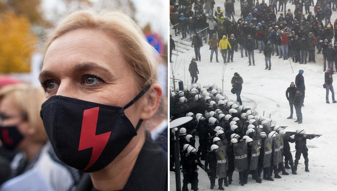 Barbara Nowacka nawiązała do górników (fot. Forum/Maciej Luczniewski; PAP/Andrzej Grygiel)