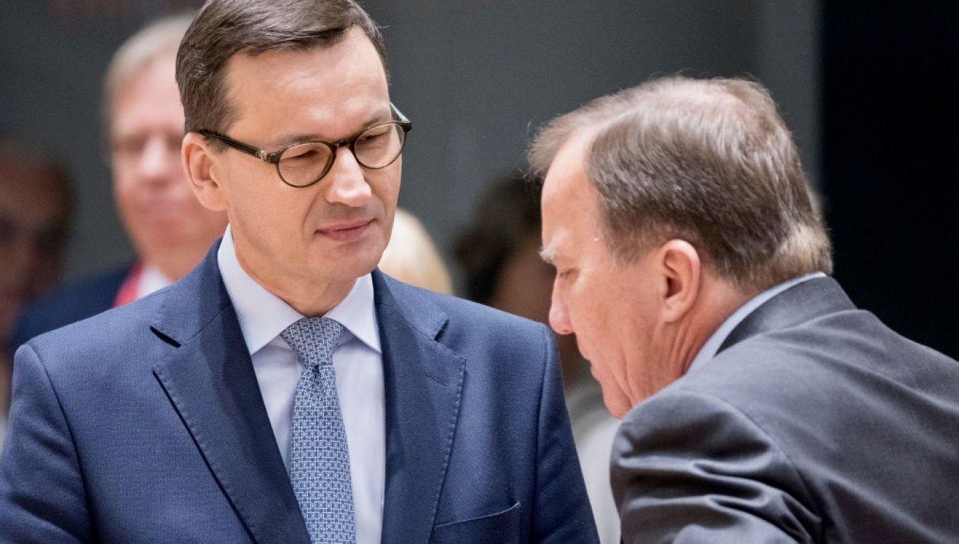 Premier Mateusz Morawiecki (L) będzie rozmawiał z premierem Szwecji  Stefanem Loefvenem (P)  (fot. Thierry Monasse/Getty Images)