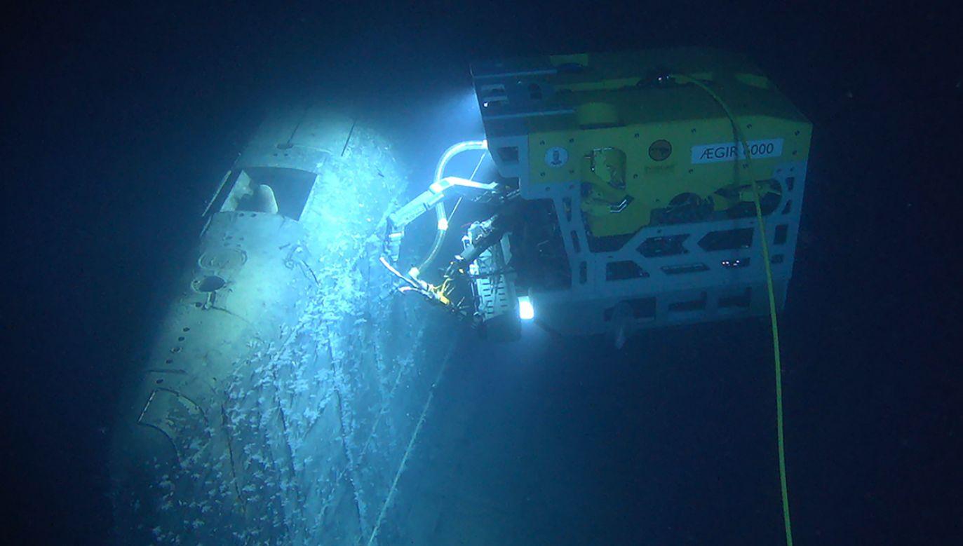ROV KIEL 6000 pobierający próbki radzieckiej atomowej łodzi podwodnej Komsomolec zatopionej na Morzu Norweskim w 1989 r. (fot. arch. PAP/EPA/NORWEGIAN INSTITUTE OF MARINE RESEARCH / HANDOUT)