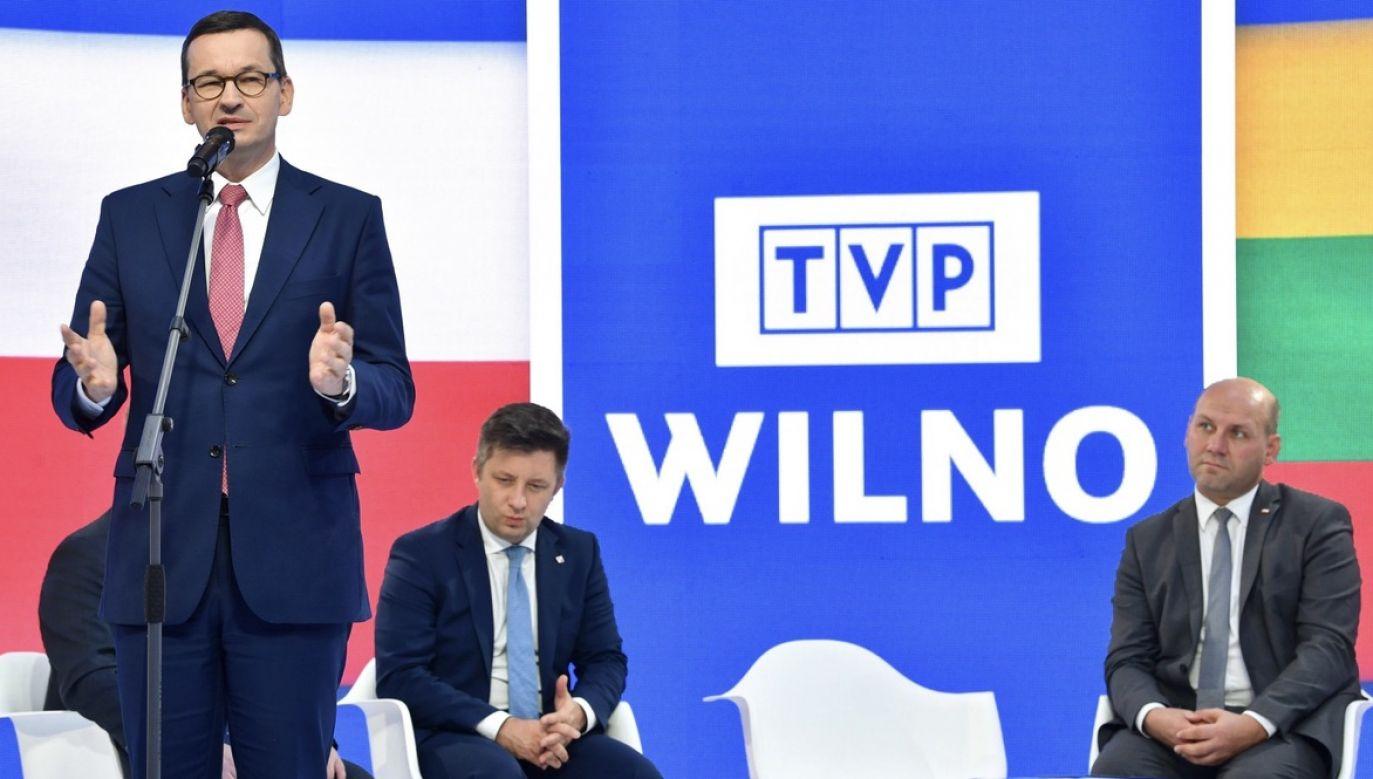 Redakcji i twórcom stacji dziękował premier Mateusz Morawiecki (fot. PAP/Radek Pietruszka)
