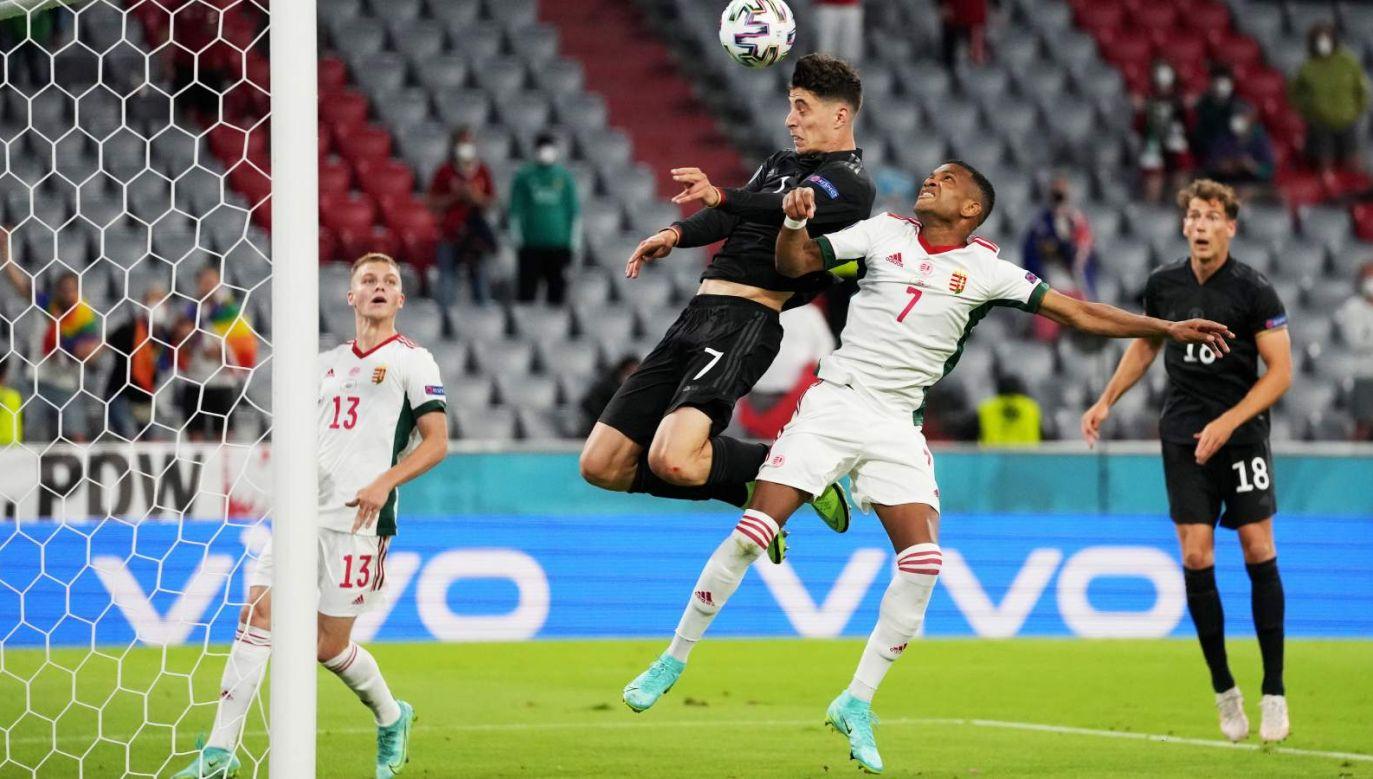 Kai Havertz strzela gola na 1:1 w meczu z Węgrami (fot. PAP/EPA)