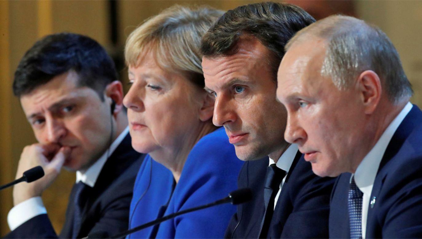 Wołodymyr Zełenski, Angela Merkel, Emmanuel Macron i Władimir Putin (fot. PAP/EPA/CHARLES PLATIAU)