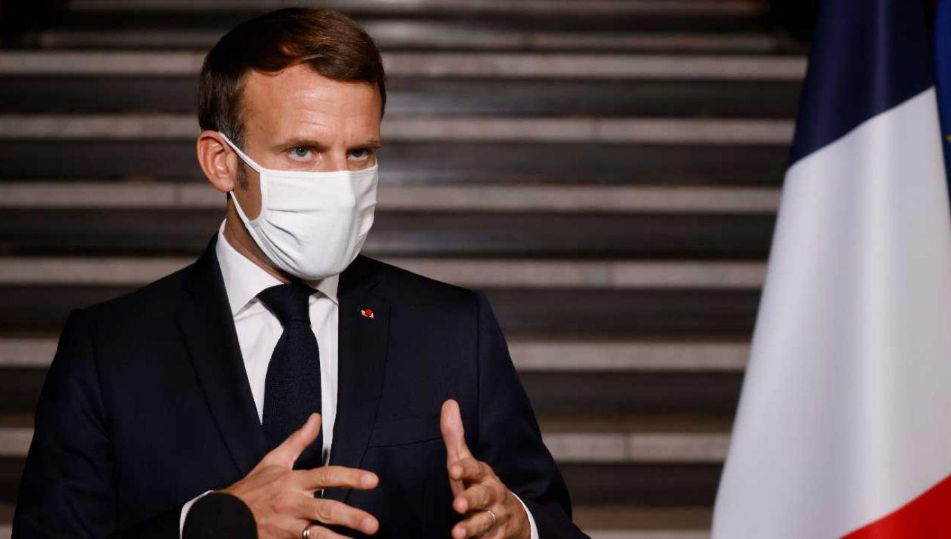 Prezydent Francji Emmanuel Macron (fot. PAP/EPA/LUDOVIC MARIN / POOL)