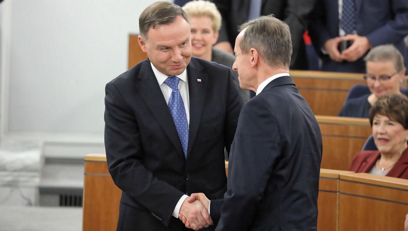 Prezydent Duda pogratulował nowemu marszałkowi Senatu (fot. PAP/Tomasz Gzell)