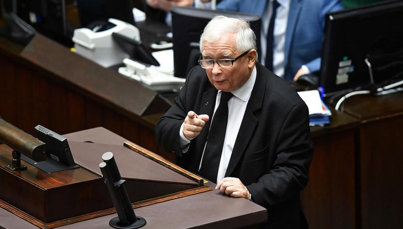 Prezes PiS zabrał głos w Sejmie  (fot. PAP/Radek Pietruszka)