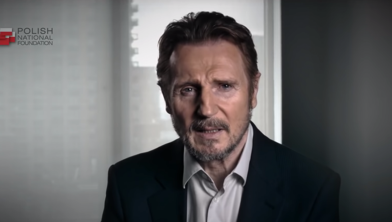 Actor Liam Neeson appeared in a latest video by the Polish National Foundation. Source: Youtube