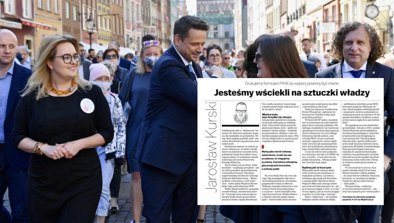 Czas na zebranie 100 tys. podpisów Rafał Trzaskowski ma do 10 czerwca (fot. PAP/Adam Warżawa, zrzut wyborcza.pl))
