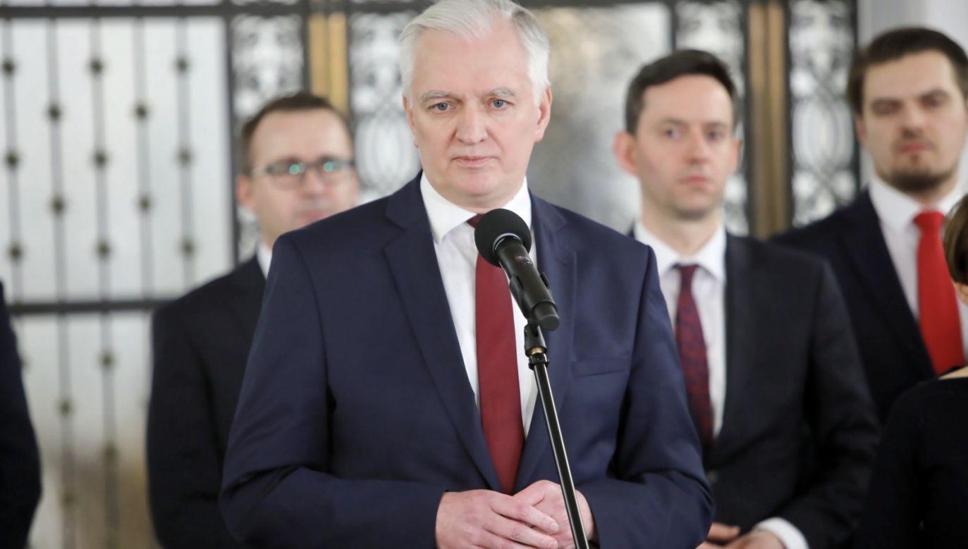 Jarosław Gowin: Porozumienie pozostaje w koalicji z PiS i Solidarną Polską (fot. PAP/Wojciech Olkuśnik)