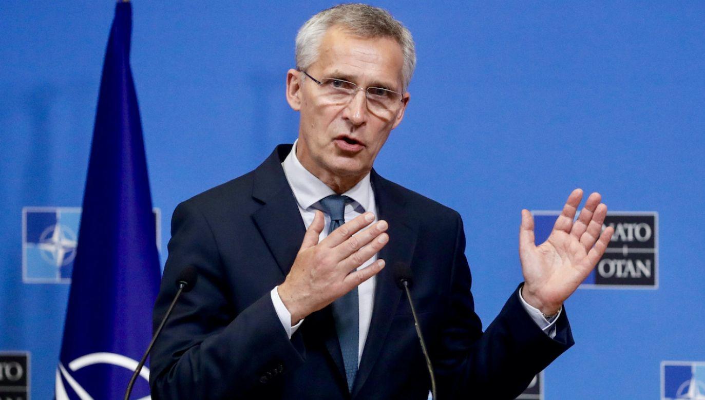 Sekretarz generalny NATO Jens Stoltenberg (fot. PAP/EPA/S.LECOCQ)