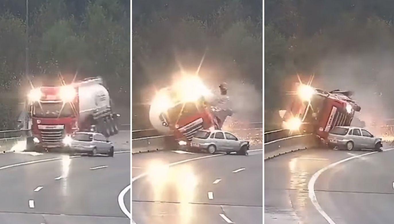 Kierowca ciężarówki zginął na miejscu (fot. YouTube/Klip)