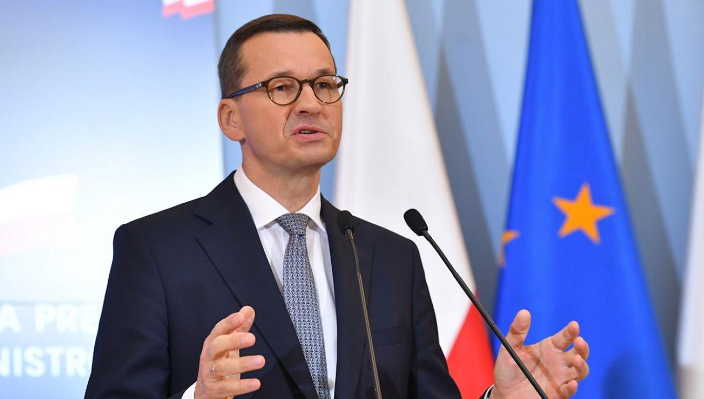 Szef rządu odniósł się w ten sposób do nowej propozycji mechanizmu warunkowości w budżecie UE, przedstawionej w poniedziałek przez niemiecką prezydencję (fot. PAP/Radek Pietruszka)