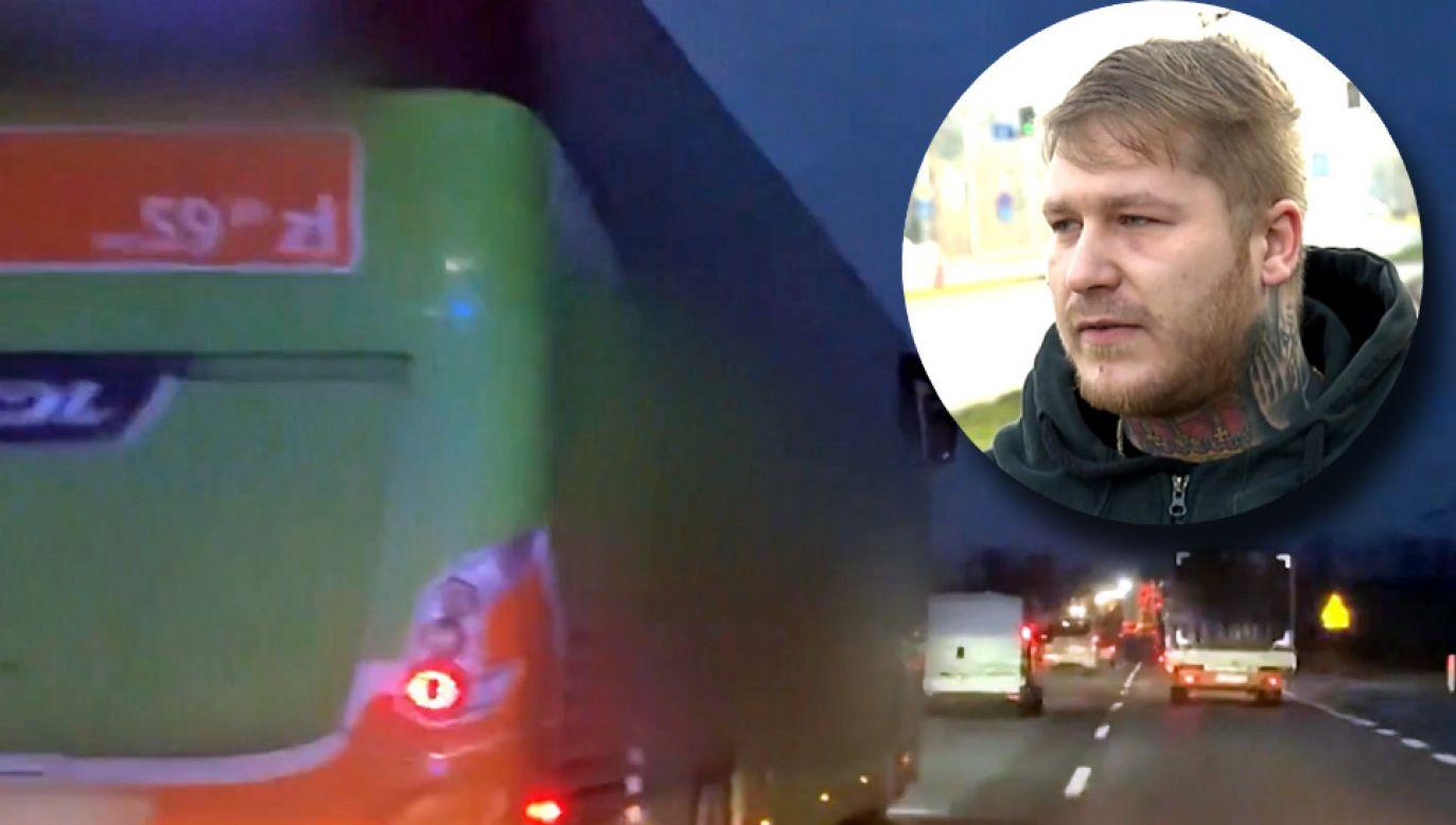 Ratownicy nagrali skandaliczną jazdę kierowcy autokaru (fot. TVP Info)