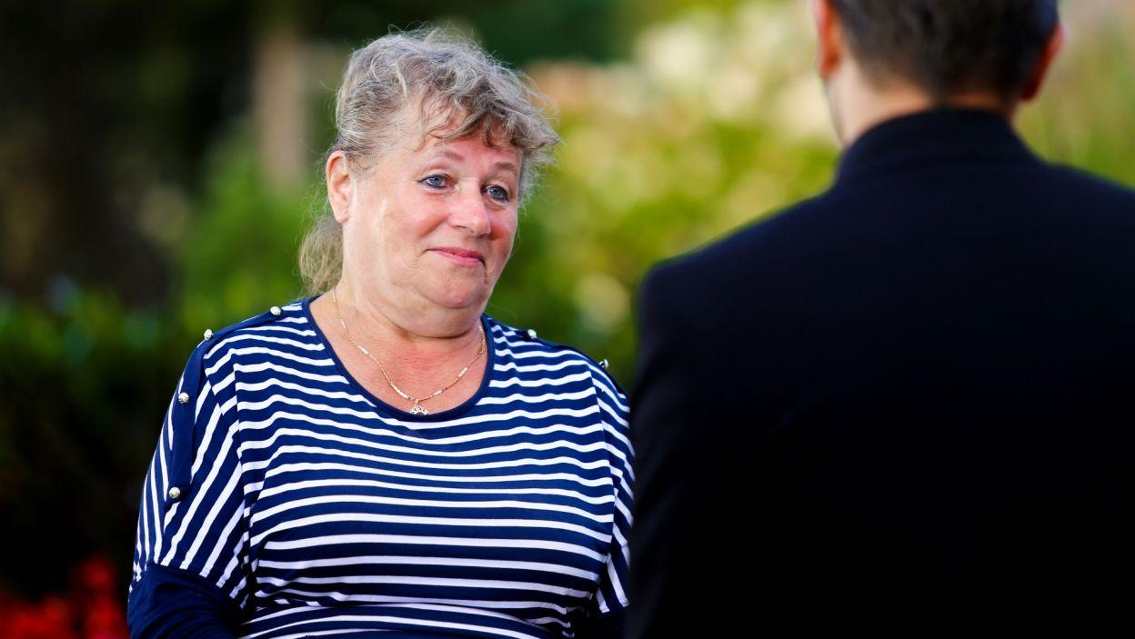 Halina została zapytana, jakie lubi pocałunki. Kuracjuszka nie straciła rezonu! (fot. TVP)