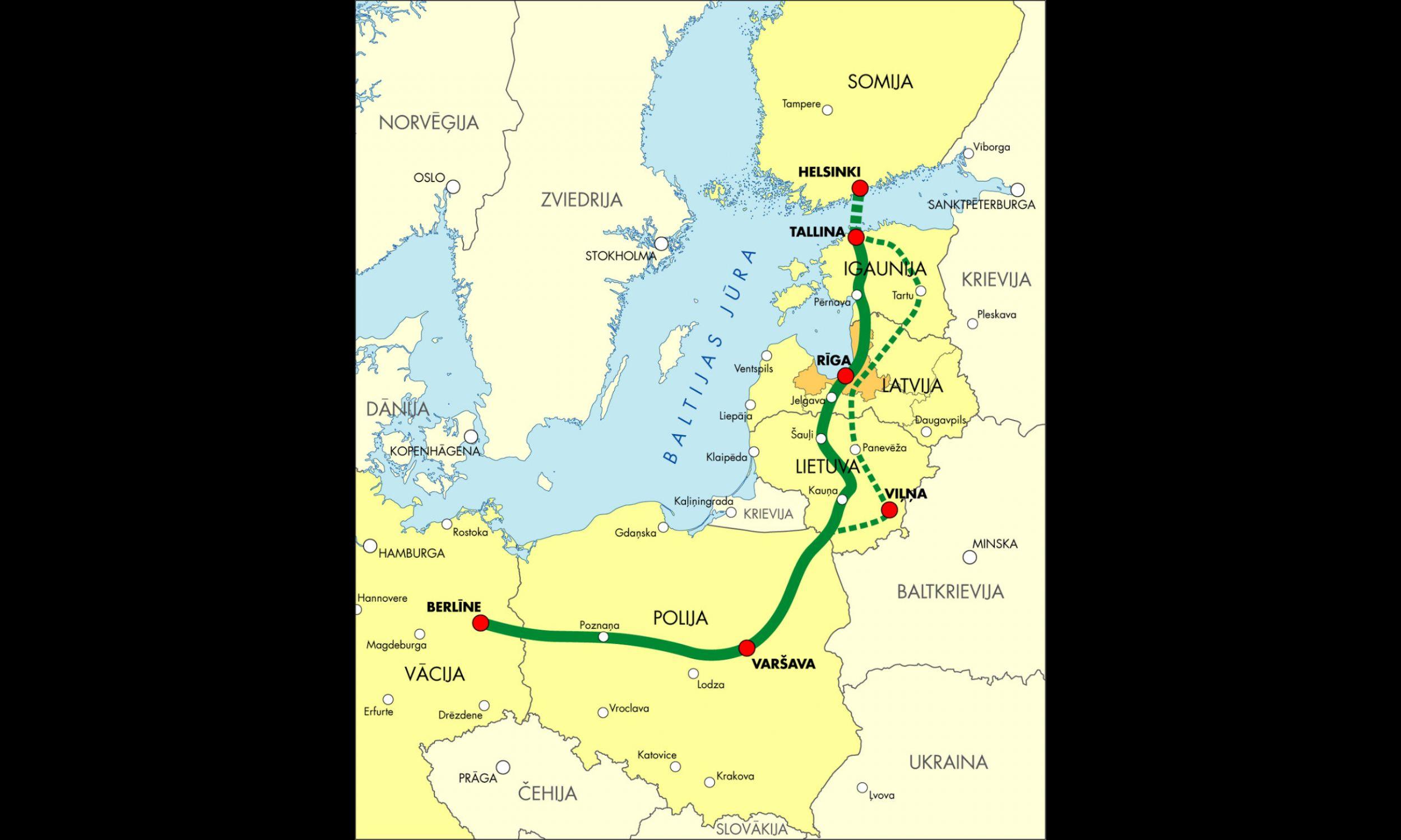 Mapa przeglądowa z planowaną lokalizacją trasy Rail Baltica. Fot. Ministry of Transport and Communication of the Republic of Latvia - http://commons.wikimedia.org/wiki/File:RailBaltica.jpg