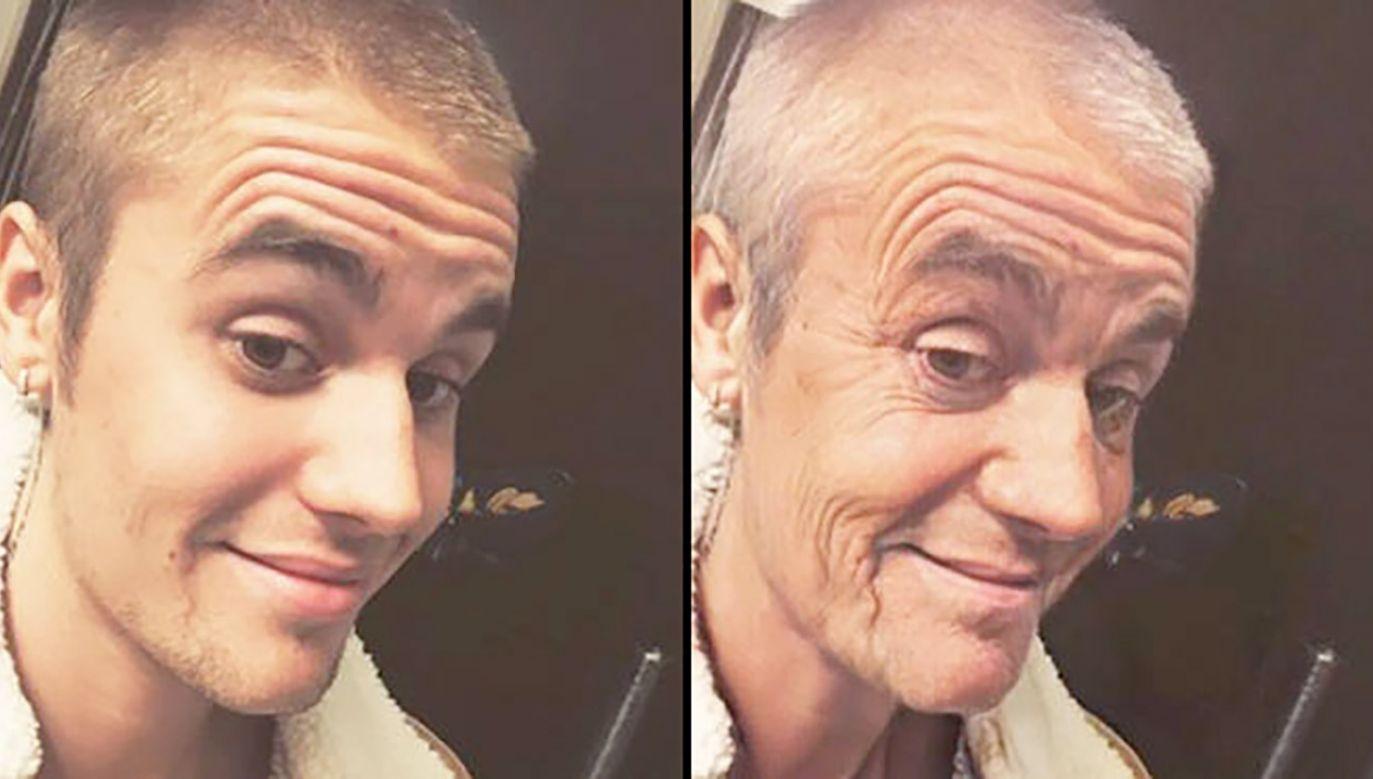 W ostatnich dniach znów popularna stała się opcja postarzania twarzy (fot. Instagram/@justinbieber/FaceApp)