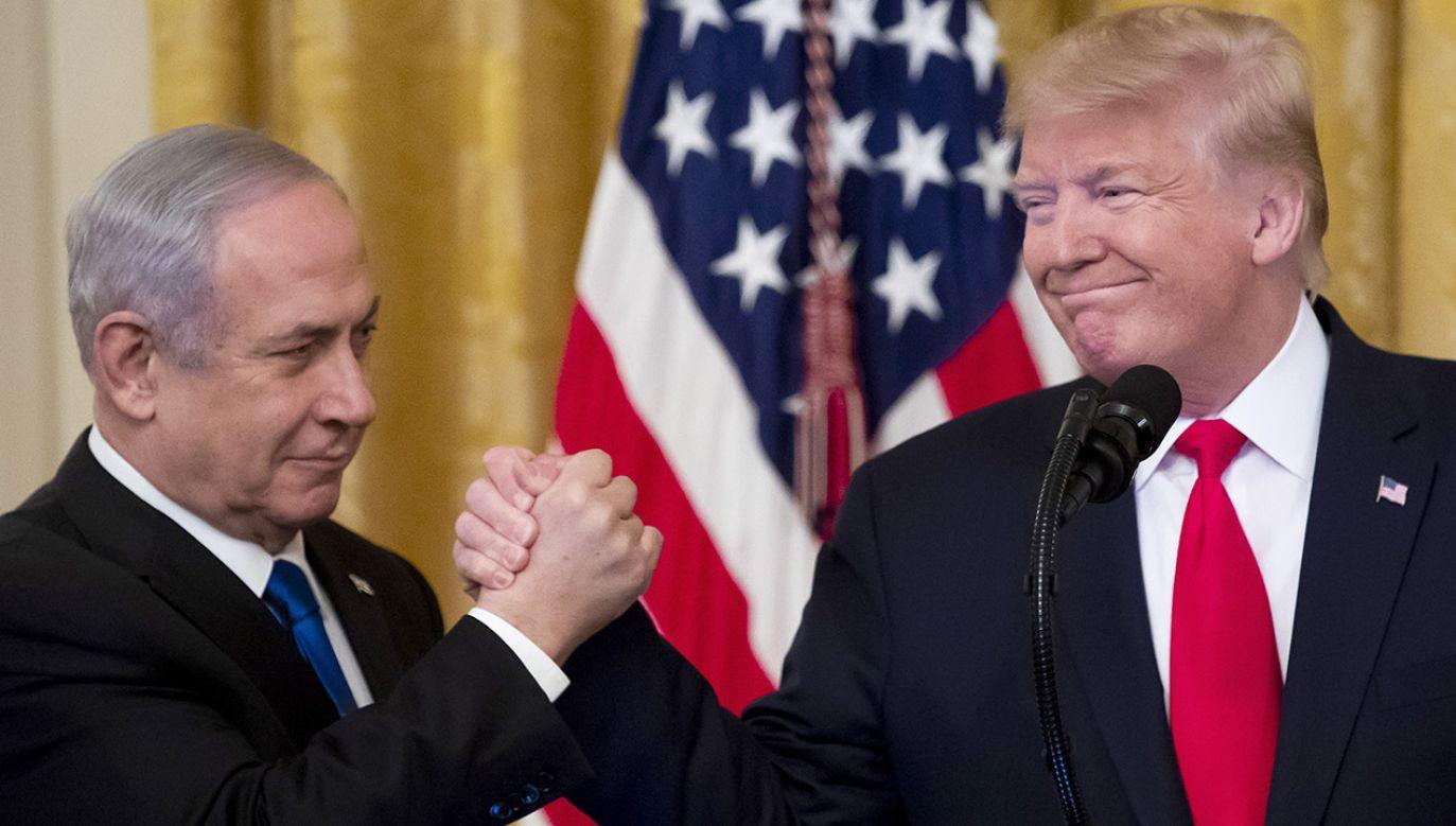 Zapowiadany od kilku miesięcy plan pokojowy dla Bliskiego Wschodu Trump ogłosił po spotkaniu w Waszyngtonie z premierem Izraela Benjaminem Netanjahu (fot. PAP/ EPA/MICHAEL REYNOLDS)