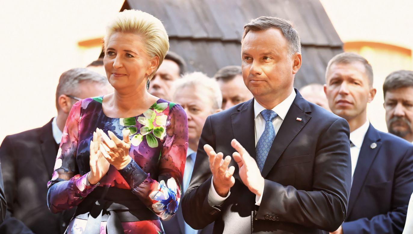 Prezydent Andrzej Duda uczestniczy w niedzielę w  Dożynkach Prezydenckich w Spale (fot. PAP/Grzegorz Michałowski)