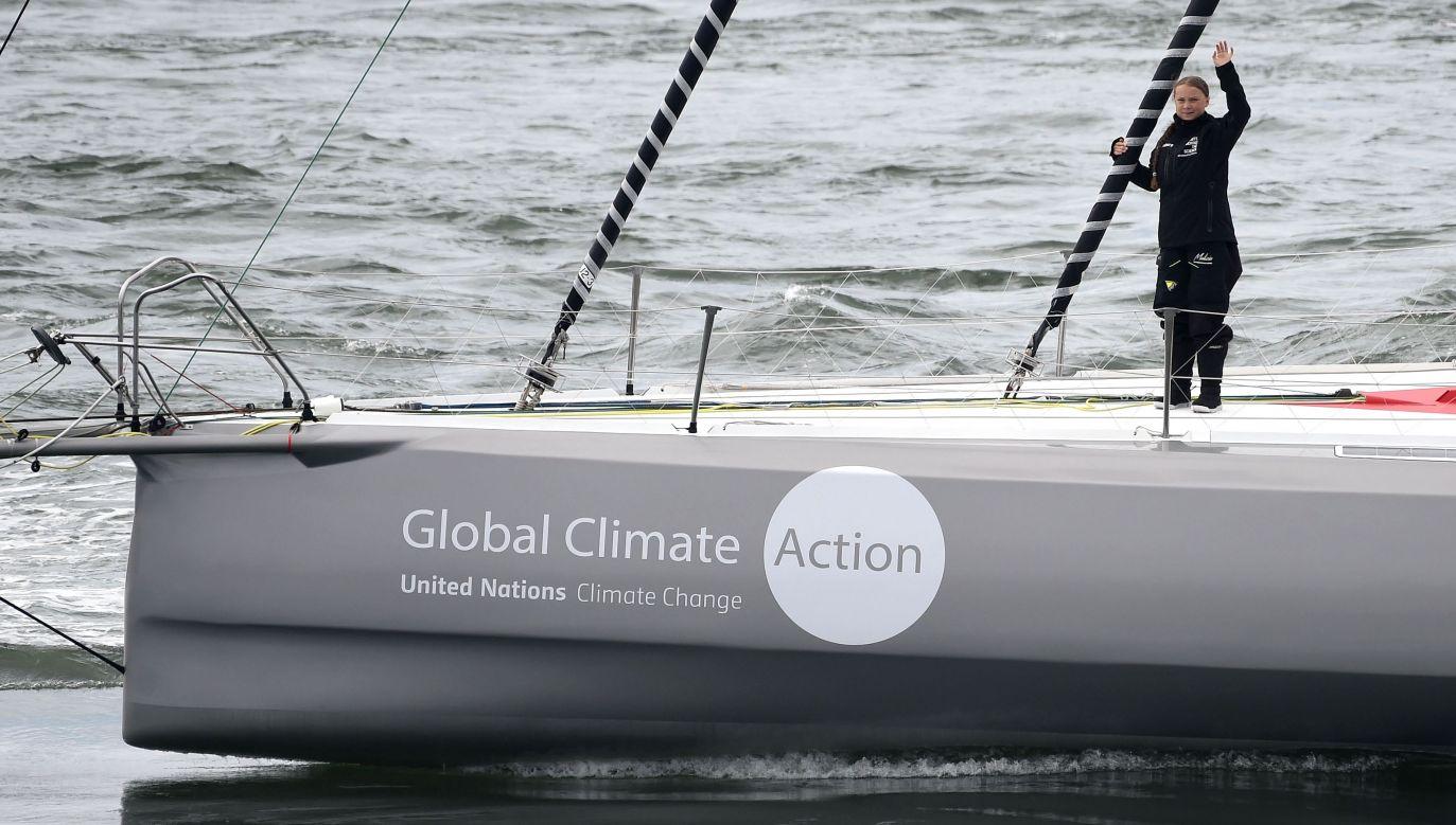 Greta Thunberg odpływa 14 sierpnia 2019 r. z Plymouth do Nowego Jorku. Fot. Finnbarr Webster/Getty Images
